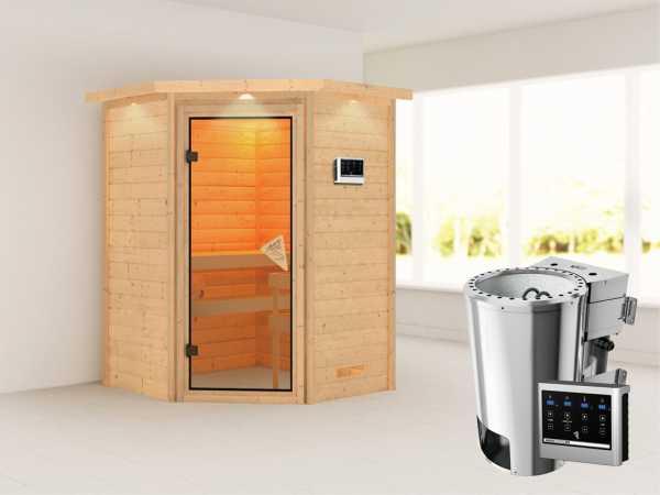 Sauna Massivholzsauna Alicja mit Dachkranz, inkl. Plug & Play Bio-Ofen externe Steuerung