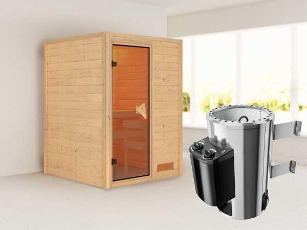 Sauna Massivholzsauna Nadja inkl. Plug & Play Saunaofen Steuerung