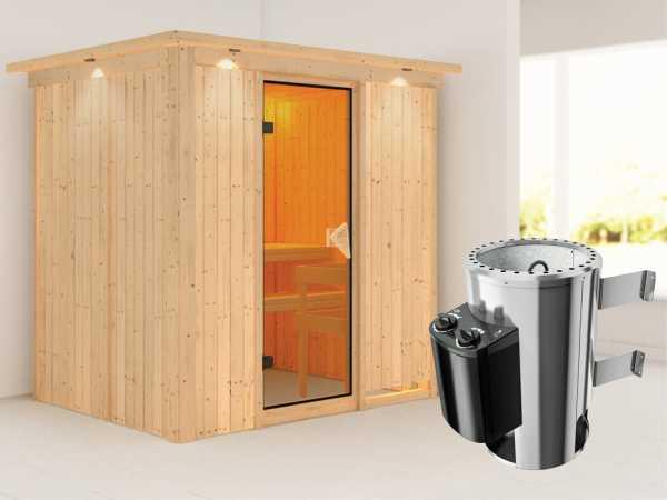 Sauna Systemsauna Fanja mit Dachkranz, inkl. Plug & Play Saunaofen Steuerung