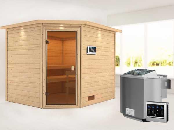 Sauna Lotta mit bronzierter Glastür und Dachkranz + 9 kW Bio-Kombiofen ext. Strg.