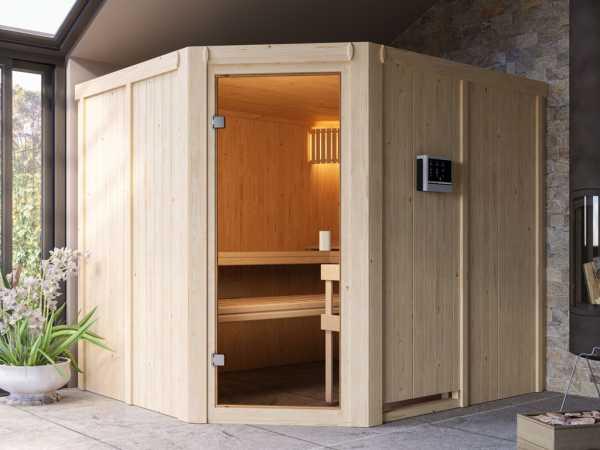 Sauna Systemsauna SPARSET Celine 5 inkl. 9 kW Bio-Ofen mit externer Steuerung