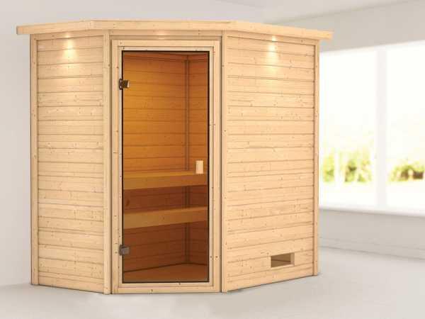 """Sauna """"Jella"""" mit bronzierter Glastür und Dachkranz"""