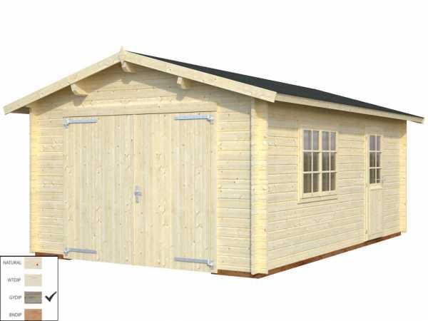 """Garage """"Roger"""" 19,0 m² mit Holztor 44 mm grau tauchimprägniert"""