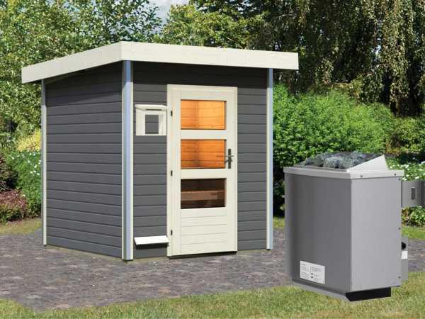 Saunahaus Torge Grau mit Klarglastür, inkl. 9 kW Saunaofen mit integrierter Steuerung
