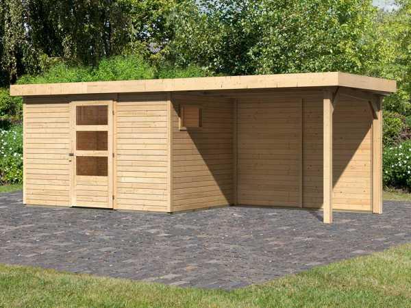 Gartenhaus SET Oburg 4 19 mm naturbelassen, inkl. 2,8 m Anbaudach + Rückwand