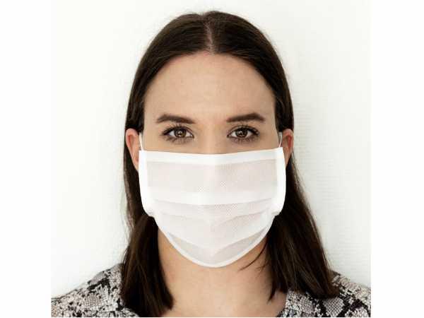 Gesichtsmaske Mund-/Nasen-Maske Weiß waschbar 5er Pack