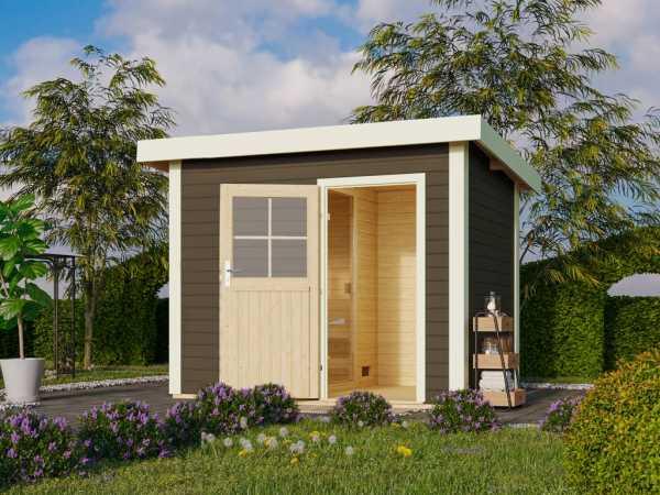 Saunahaus Suva Z Grau mit Holztür, inkl. 9 kW Ofen mit integrierter Steuerung
