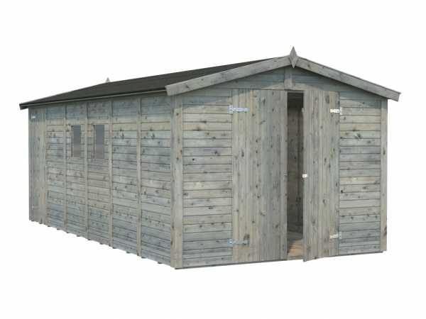 Gerätehaus Dan 14,2 m² 16 mm grau tauchimprägniert