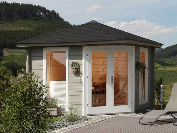 Gartenhaus Blockbohlenhaus Katrin 44-A 44 mm naturbelassen, inkl. Dachschindeln schwarz