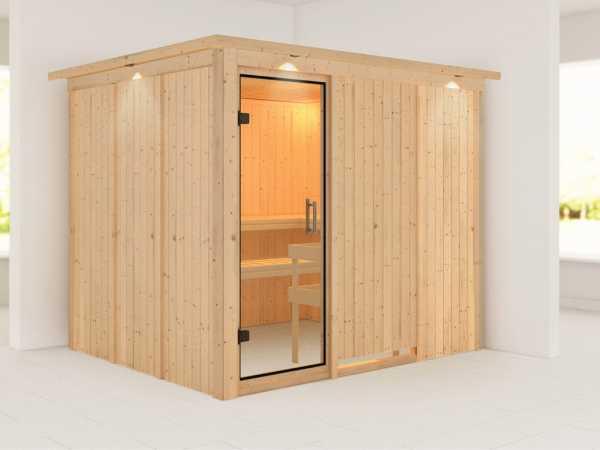 Sauna Systemsauna Gobin mit Dachkranz, Klarglas Ganzglastür