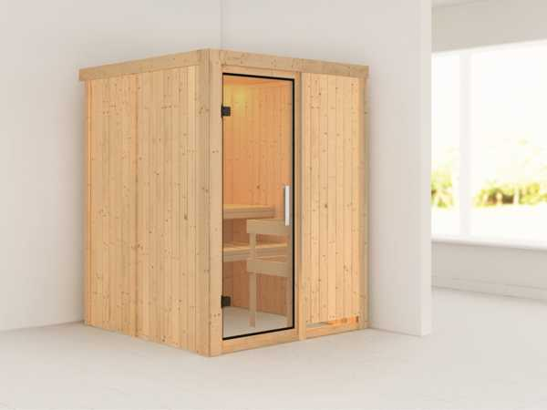 Sauna Systemsauna Minja Klarglas Ganzglastür