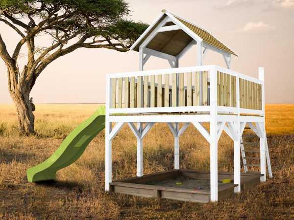 Spielturm Atka braun/weiß mit grüner Rutsche