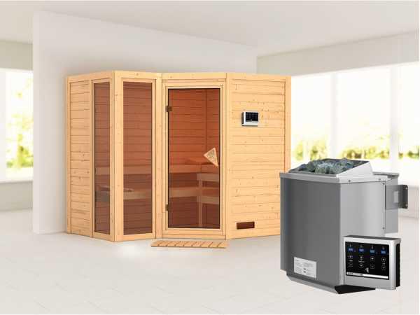 Sauna Massivholzsauna Amara inkl. 9 kW Bio-Kombiofen ext. Steuerung