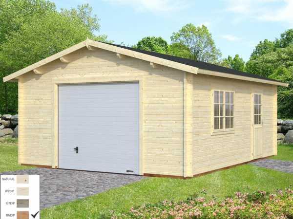 Garage Roger 23,9 m² mit Sektionaltor 44 mm braun tauchimprägniert