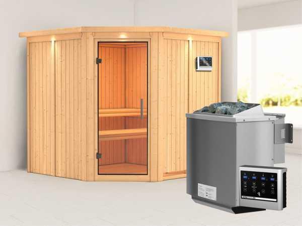 Sauna Systemsauna Jarin mit Dachkranz, Klarglas Ganzglastür + 9 kW Bio-Kombiofen mit ext. Strg