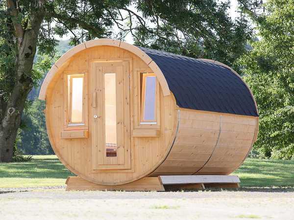 """Campingfass """"446 2-Raum"""" naturbelassen, als Bausatz, inkl. Dachschindlen schwarz"""