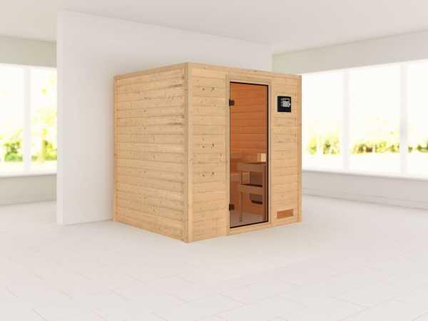 """Sauna Massivholzsauna SPARSET """"Oslo 2"""" inkl. 9 kW Saunaofen ext. Steuerung"""