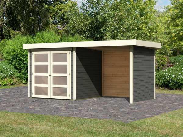 Gartenhaus SET Mühlendorf 2 ECO 19 mm terragrau, inkl. 2,4 m Anbaudach + Seiten- und Rückwand