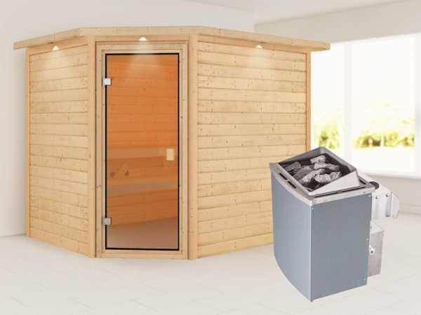 Sauna Lisa mit bronzierter Glastür und Dachkranz + 9 kW Saunaofen integr. Strg.