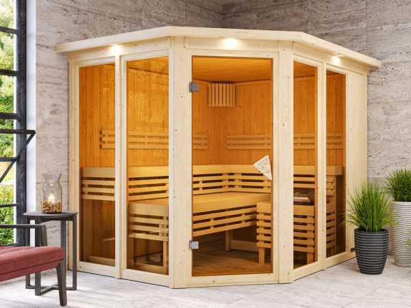 """Sauna """"Ainur"""" mit bronzierter Glastür und Dachkranz"""