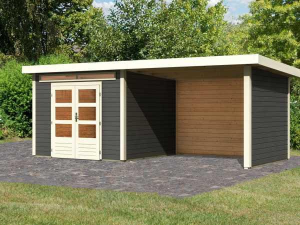 Gartenhaus SET Kandern 6 28 mm terragrau, inkl. 3,2 m Anbaudach + Seiten- und Rückwand