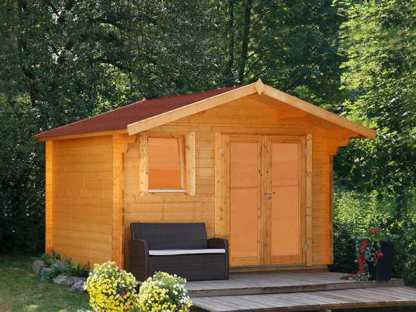 Gartenhaus Blockbohlenhaus Oslo 34-F Modern XL 34 mm naturbelassen