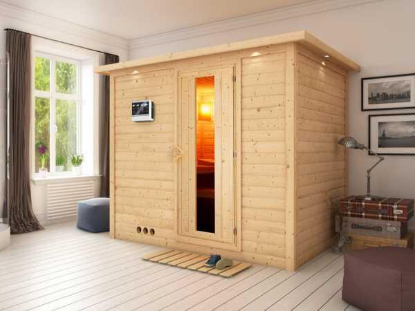 """Massivholzsauna """"Sonara"""" mit Dachkranz, Holztür mit Isolierglas inkl. 9 kW Bio-Ofen ext. Steuerung"""