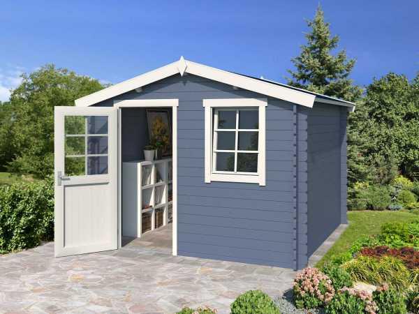 Gartenhaus Blockbohlenhaus Nina 230 28 mm taubenblau