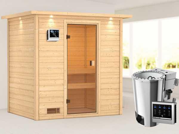 Sauna Selena mit bronzierter Glastür und Dachkranz + 3,6 kW Plug & Play Bio-Ofen ext. Strg.