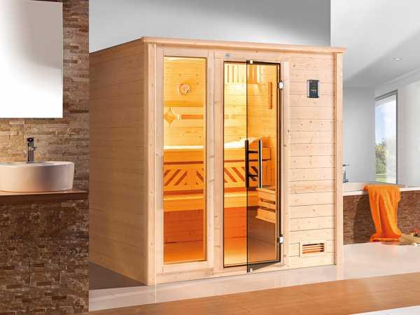 Sauna Massivholzsauna Bergen 3 mit graphit Glastür & Fenster