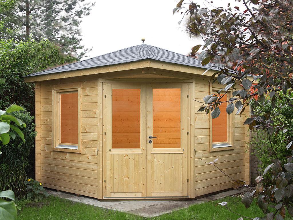 gartenhaus blockbohlenhaus maria 44 a 44 mm. Black Bedroom Furniture Sets. Home Design Ideas
