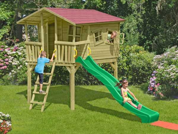 Stelzenhaus Set 2 Crazy Leon inkl. 2,9 m Rutsche grün + Sandkasten
