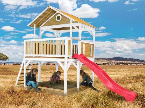Spielturm Simba braun/weiß mit roter Rutsche