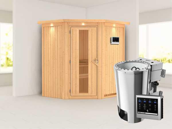 Sauna Systemsauna Tonja mit Dachkranz, Energiespartür + Plug & Play Bio-Ofen mit externer Strg