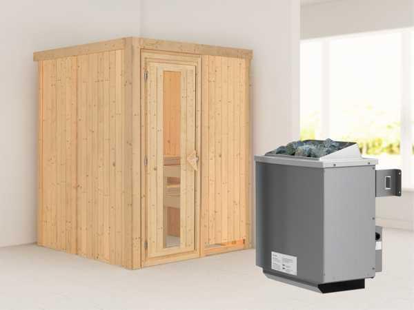 """Systemsauna """"Norin"""" Holztür mit Isolierglas, inkl. 9 kW Saunaofen integr. Steuerung"""