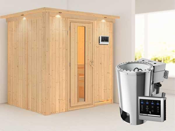 Sauna Systemsauna Fanja mit Dachkranz, Energiespartür, Plug & Play Bio-Ofen mit externer Steuerung