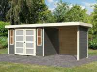 Gartenhaus SET Mühlendorf 4 ECO 19 mm terragrau, inkl. 2,4 m Anbaudach + Seiten- und Rückwand