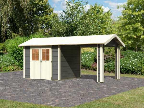 Gartenhaus SET Espelo 3 CLASSIC 28 mm terragrau, inkl. 1 Dachausbauelement