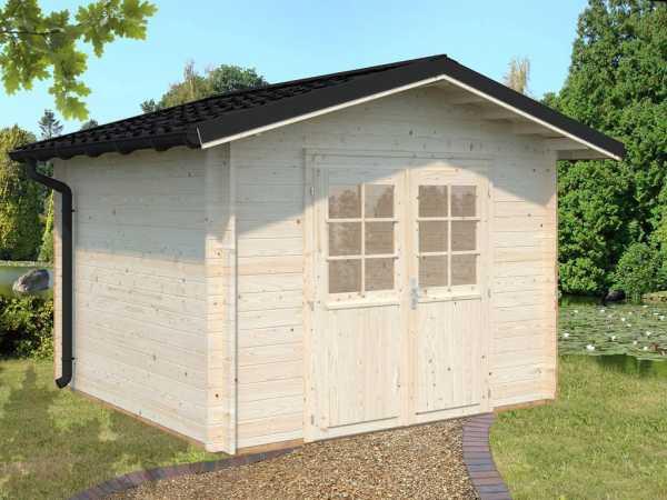 Gartenhaus Blockbohlenhaus Tina 7,5 m² 34 mm naturbelassen