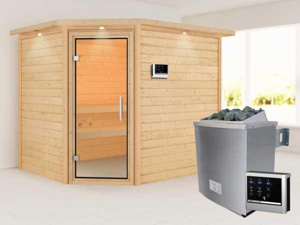 """Sauna """"Lisa"""" mit Klarglastür und Dachkranz + 9 kW Saunaofen ext. Strg."""