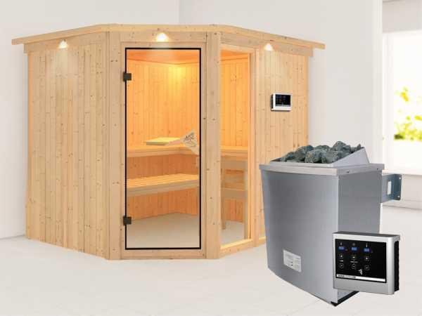 Sauna Systemsauna Fiona 3 mit Dachkranz, inkl. 9 kW Saunaofen ext. Steuerung