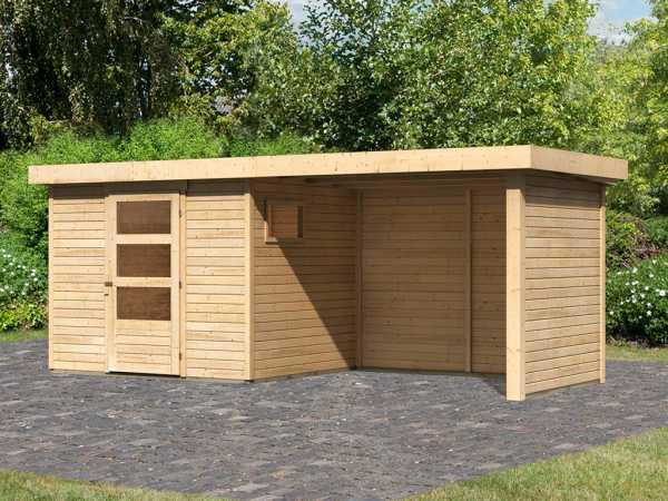 Gartenhaus SET Oburg 3 19 mm naturbelassen, inkl. 2,8 m Anbaudach + Seiten- & Rückwand