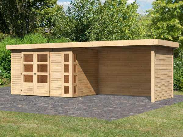 Gartenhaus SET Kerko 4 19 mm naturbelassen, inkl. 2,8 m Anbaudach + Seiten- und Rückwand