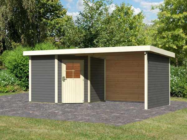 Gartenhaus SET Neuruppin 2 28 mm terragrau, inkl. 3,2 m Anbaudach + Seiten- und Rückwand