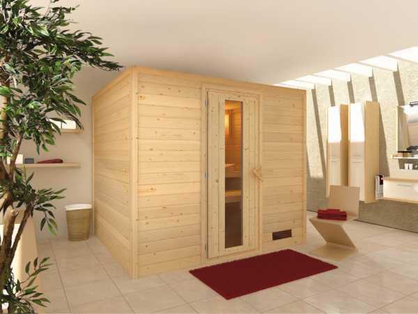 Sauna Massivholzsauna Karla Holztür mit Isolierglas