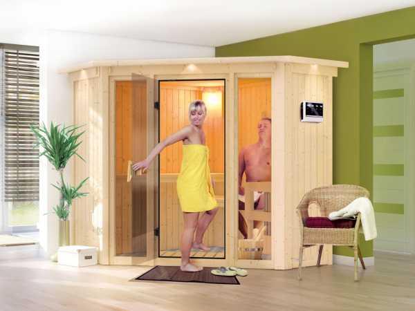 Sauna Systemsauna SPARSET Flora 1 mit Dachkranz, inkl. 9 kW Bio-Ofen ext. Steuerung & Zubehörpaket