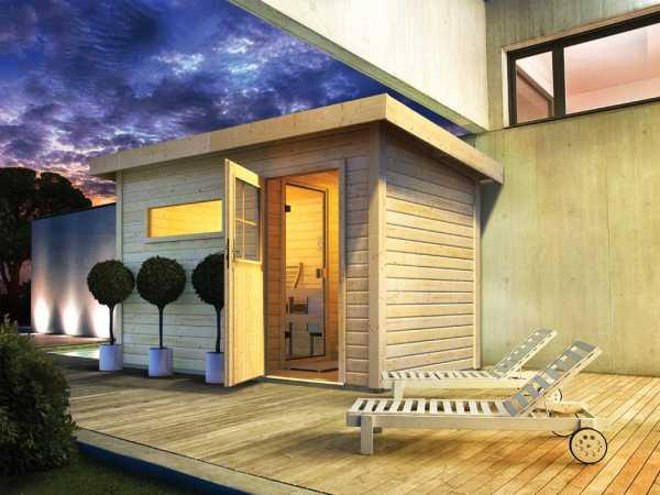 Saunahaus Suva 1 mit Holztür & Vorraum, inkl. 9 kW Bio-Kombiofen mit externer Steuerung