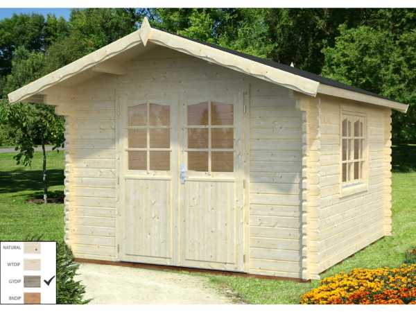 Gartenhaus Blockbohlenhaus Sally 10,2 m² 44 mm grau tauchimprägniert