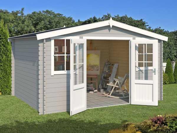 Gartenhaus Blockbohlenhaus Dallas 28 mm lichtgrau