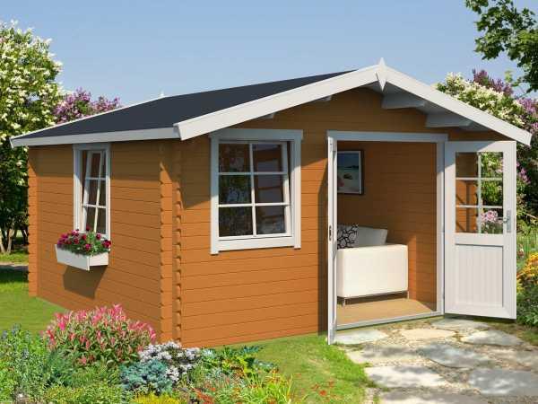 Gartenhaus Blockbohlenhaus Luna 1 28 mm eiche